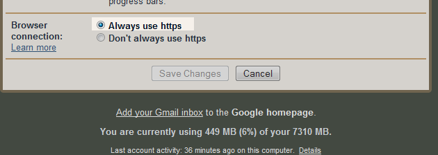 Setting browser connection to always use https